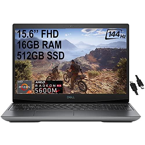Flagship Dell G5 15 VR Ready Gaming Laptop 15.6'FHD 144Hz AMD Octa-Core Ryzen 7 4800H (Beats I7-9750H) 16GB DDR4 512GB SSD 6GB AMD RX 5600M RGB Backlit USB-C Win10 + iCarp HDMI Cable