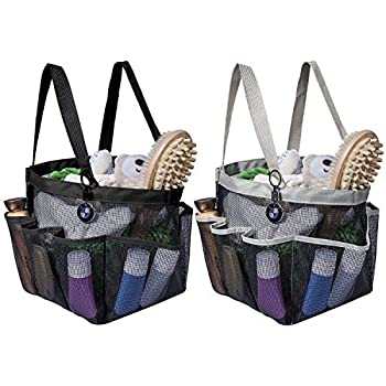 Attmu 2 Pack Portable Mesh Shower Caddy Dorm with 8 Mesh Storage Pockets Quick Dry Waterproof Shower Tote Bag Oxford