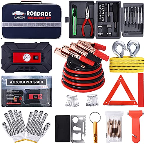 LIANXIN Emergency Car Kit car Accessories-Jumper Cables Kit for Car,Portable Air Compressor,Tow Strap, Tire Pressure Gauge, Car Accessories for Women and Men