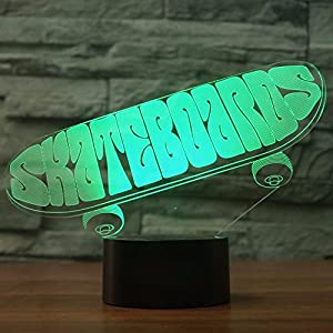 Jinnwell 3D Skateboard Night Light Lamp Illusion Night Light 7 Color Changing Touch Switch Table Desk Decoration Lamps Gift with Acrylic Flat ABS Base USB Cable Toy (Bus)