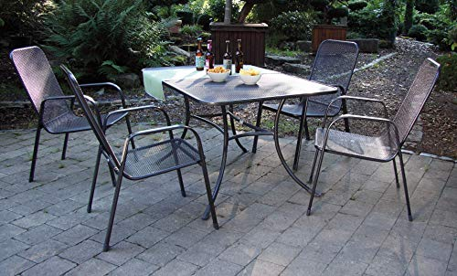 acamp Streckmetall Gartenmöbelset 4X Astor Stapelsessel 56451 und 1x Tisch Strada 145 x 90 cm