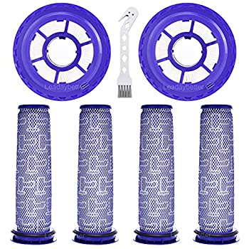 Leadaybetter 2 Pack Hepa Post Filter & 4 Pack Pre Filter Replacement Filter for Dyson DC65 DC66 DC41 UP13 UP20 Animal Multi Floor and Ball Vacuums Compare to Part #920769-01&920640-01