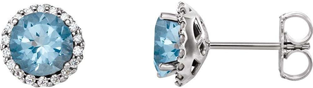 Solid 14k White Gold Aquamarine and 1/6 Cttw Diamond Stud Earrings (.16 Cttw) (Width = 7.3mm)