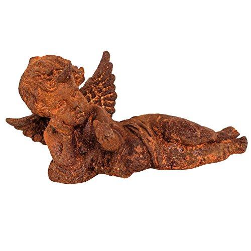 aubaho Gartenskulptur Engel liegend Eisen Garten rost Eisenfigur Skulptur Antik-Stil