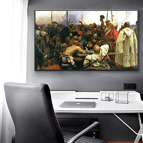 Danjiao Berühmte Gemälde Zaporozhye Schreibt An Den Türkischen Sultan Von Ilya Yafimovich Repin, Poster Und Prints Wall Art Canvas Painting Wohnzimmer 60x90cm