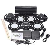 7 Pads Kit de Batería Electrónica Compacto MIDI,Batería Musical Plegable,Portátil Conjunto Tapete Musical de Percusión Tambores con 2 Pedale y Baquetas,regalo de cumpleaños para Niños y Principiantes