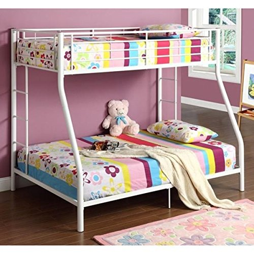 StarSun Depot White Twin Over Full Metal Bunk Bed