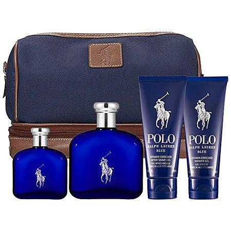 Polo Blue Ralph Lauren For Men Gift Set 4 Piece Collection 4.2 Fl Oz EDT Spray, 1.36 Fl Oz EDT Spray, 3.4 After Shave Gel, 3.4 Shower Gel, Travel Bag