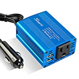 150W Car Power Inverter Charger DC 12V to 110V AC Converter with 3.1A Dual USB Charger(Blue)
