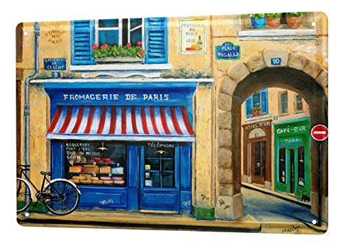 LEotiE SINCE 2004 M. Dunlap Cartel De Chapa Gira Mundial Tienda de quesos Fromagerie Francia Letrero De Metal 20X30 cm