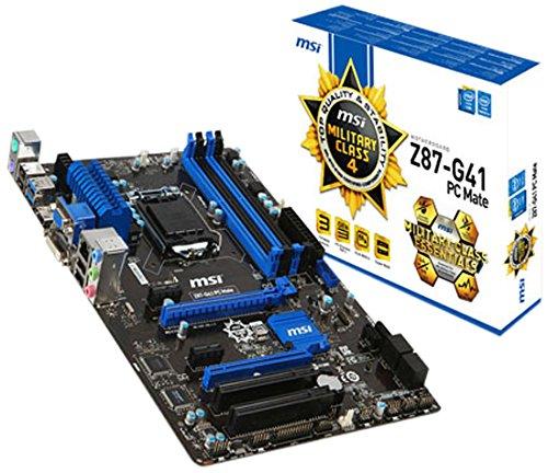 MSI 7850-002R Z87-G41 PC Mate Intel Z87 Mainboard Sockel LGA 1150 (4x DDR3, Intel HD Graphics, 2x PCI-e, 6x SATA, ATX)