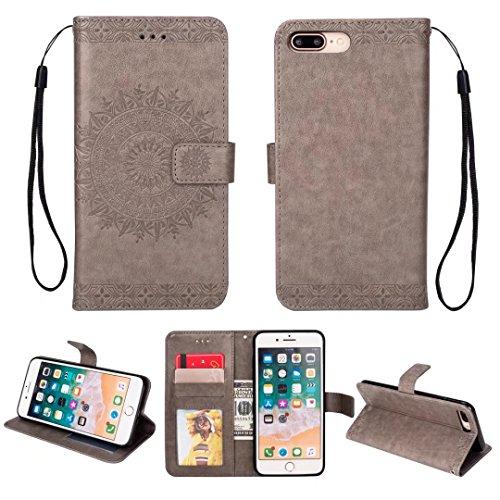 iPhone 5/5S/5SE hoesje PU lederen portemonnee reliëf Mandala bloem standaard Flip case credit card slot beschikt over beschermende DECHYI case