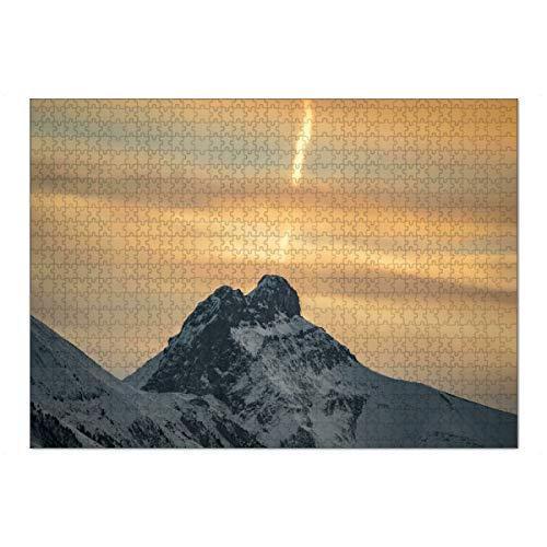 artboxONE Ravensburger-Puzzle XL (1000 Teile) Natur Glimpse of Dawn - Puzzle Sonnenaufgang Wolken orange