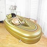AMOS Bañera hinchable para adultos Tubo de plástico plegable portátil de PVC con bomba de aire ( Color : Oro )