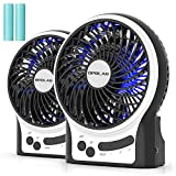 OPOLAR Battery Operated Travel Fan, Portable Personal Handheld Face Fan, 3-13 Working Hours, 3 Speeds, Strong Wind with Internal and Side Light, Quiet Rechargeable Desk Fan for Boating-4'' / 2 Pack