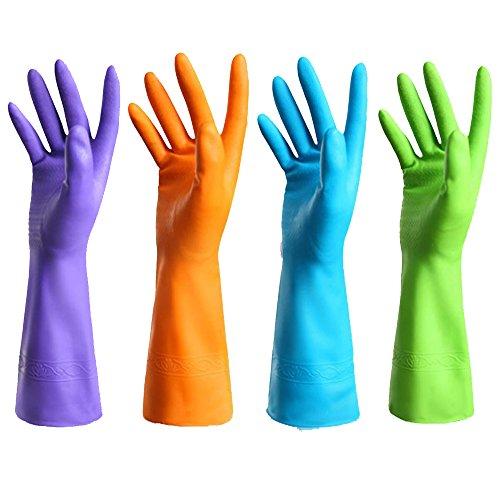 Gummi-Handschuh für die Küche, mit Futter, verdickt, aus PU, wasserdicht, für die Küche, zum Geschirrspülen, Latex, Größe L, 1 Paar B01m1umy33