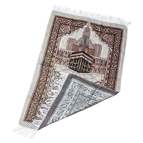 SOIMISS Alfombra de oración musulmana, algodón, alfombra de oración turca, portátil, para viaje, Ramadán, regalo islámico, 110 x 70 cm