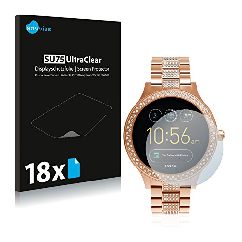Savvies 18x Schutzfolie kompatibel mit Fossil Q Venture/Q Venture (3.Gen) Bildschirmschutz-Folie Ultra-transparent