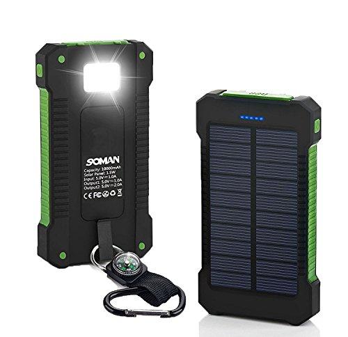 Omont Cargador Solar 10000mAh,Portátil Backup Power Bank para Exteriores de Panel Solar Cargador con LED de Luz de Emergencia para Android-Teléfonos Móviles y Smartphone