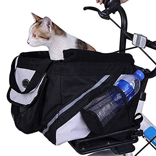 YAOBAO Porte-vélos pour Chien, Sac à vélo détachable Facile à Installer avec de Grandes Poches latérales pour Sac à Dos pour Animaux de Compagnie/Booster pour Chiens et Chats,Black