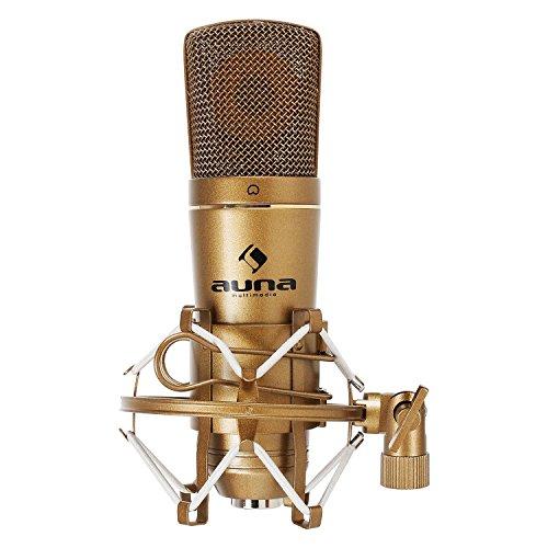 auna CM600 USB - Kondensator Mikrofon, Studio-Mikrofon, Nierencharakteristik, USB-Anschluss, Metall-Chassis, 30 Hz - 18 kHz, inklusive Mikrofonspinne und Schutztasche, Plug & Play, gold
