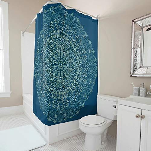 Lind88 donkerblauwe mandala thema stijl douchegordijn universele gemakkelijk wassen bad gordijn set met ringen - textuur voor appartement decoreren