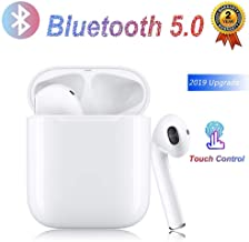 Bluetooth Headphones Auto Pairing Earphones TWS Earbuds Bass Stereo Earpieces Cordless Audio Earphones Mini in-Ear Sport Headsets and Charging Case-White