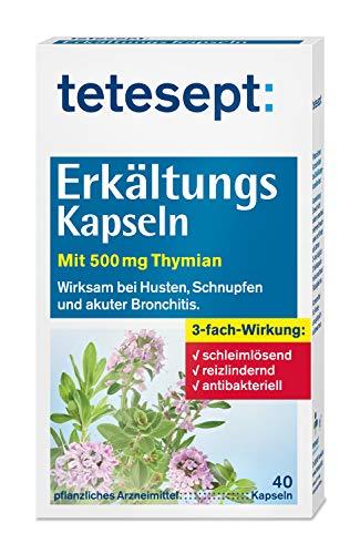 tetesept Erkältungs Kapseln – Wirksam bei Husten, Schnupfen und akuter Bronchitis - pflanzliches Arzneimittel mit Thymian – 5 x 40 Stück
