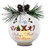 2021 Baby's First Christmas Ornament - Santa Reindeer Candy Cane and Gingerbread Man Design - Light Up Bulb Ornament White Glittery Snow Inside - Pine Cone and Greenery - 4-Hour Timer Included