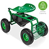 Best Choice Products Mobile Rolling Work Seat for Garden, Backyard w/Tool Tray, Basket - Green