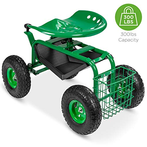 Best Choice Products 4-Wheel Garden Cart Mobile Rolling Work Seat...