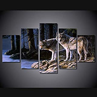 Wolf Poster 5 Pieces Canvasanimal Two Wolves Poster Unframed Wall Pictures For Living Room Cuadroshd Modular Pictures