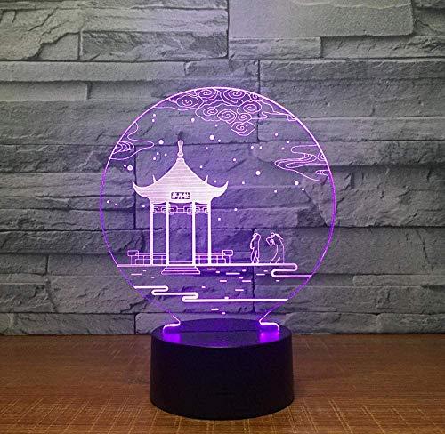 Oude paviljoen, 3D-lamp, tafellamp, 7 kleuren, wisselende bureaulamp, 3D-lamp, nieuwigheid, led-nachtlampje, cadeau voor Valentijnsdag