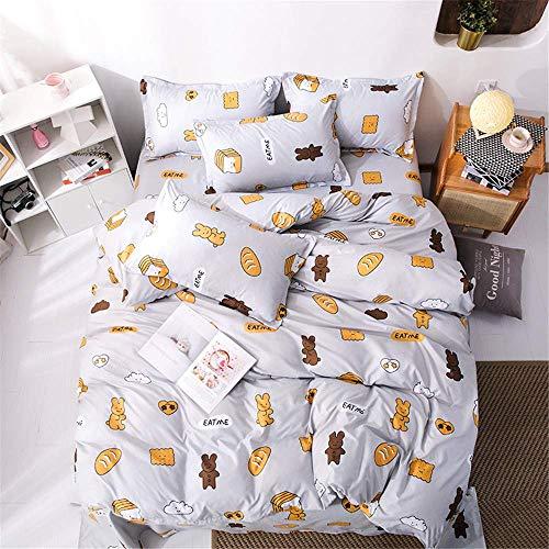 Duvet Cover Set 3 Pieces, Single Double King Bedding Set Microfiber Soft Cute Animal Duvet Set with Zipper Closure Quilt Case and 2 Pillowcases (Love Bear,180x220cm)