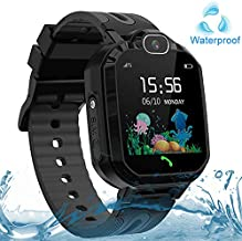 Kids Smart Watch Waterproof, GPS/LBS Tracker SOS Call Smartwatch Phone for Kids 3-12 Year Old Boys Girls with Two-Way Call Touch Screen Voice Chat Game Flashlight for Birthday Christmas (Black)