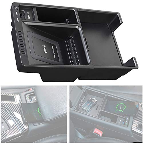 Braveking1 Cargador Inalámbrico Coche para Audi A4 A5 S4 S5 2017-2021 Panel de Accesorios de la Consola Central, 10W Carga Rápida Teléfono de Caja de Almacenamiento de Inserción para iPhone Samsung