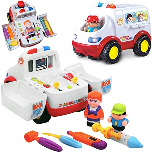 Liberty Imports 2-in-1 Ambulance Doctor Rescue Vehicle Set with Operation, Medical Tools, Lights, Music and Sounds