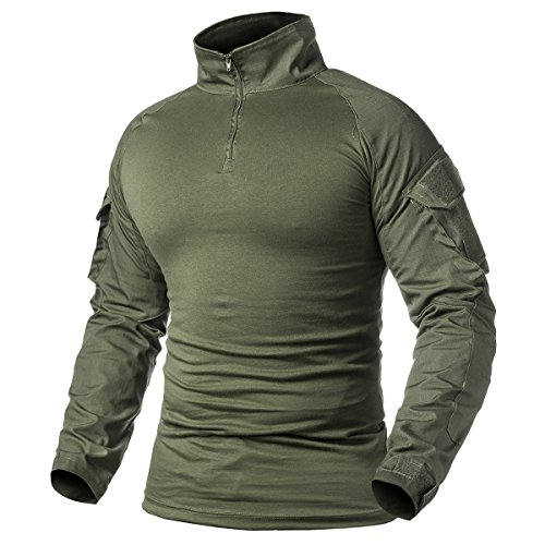 ReFire Gear Men's Military Tactical Army Combat Long Sleeve Shirt Slim Fit Camo T-Shirt with 1/4 Zipper, Army Green, US XX-Large(Tag 5XL)