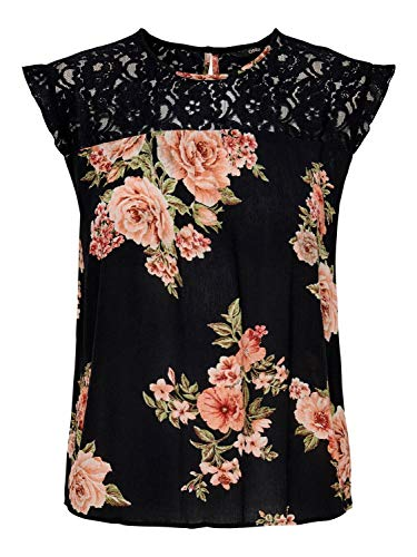 ONLY Womens ONLKARMEN S/L TOP AOP WVN NOOS Blouse, AOP:ORANGE Flower Black, 38