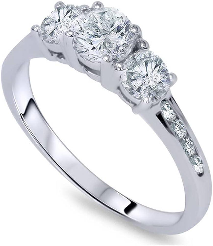 1 Ct Three Stone Diamond Finally Max 62% OFF resale start Engagement 14K White Gold Ring