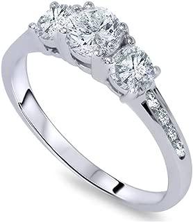 1 Ct Three Stone Diamond Engagement Ring 14K White Gold