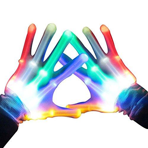 Handschuhe LED Bunte Beleuchtung Finger Glow Für Halloween, Clubs, Festivals, Weihnachten, Stage Performance, Sports, Party - 1 Paar (7 Modi Farbe)