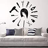 Wandaufkleber Friseursalon Kunst Vinyl Wandaufkleber Friseur Haar Werkzeuge Aufkleber Schlafzimmer Barshop Salon Hause Dekorative Poster 42x42 cm