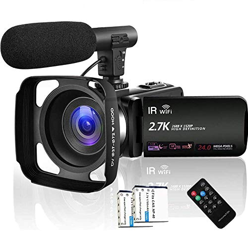 Camcorder Video Camera 2.7K WiFi Vlogging Camera Night Vision Digital Camera with Microphone Vlog Blogging Video Camera for YouTube