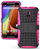 NAKEDCELLPHONE'S Pink Grenade Grip Rugged TPU Skin Hard CASE Cover Stand for Moto-G 2nd GEN 2014 (Moto-G 2nd Generation (2014) Moto-G2, 2nd Gen, G+1, Unlocked XT1068)