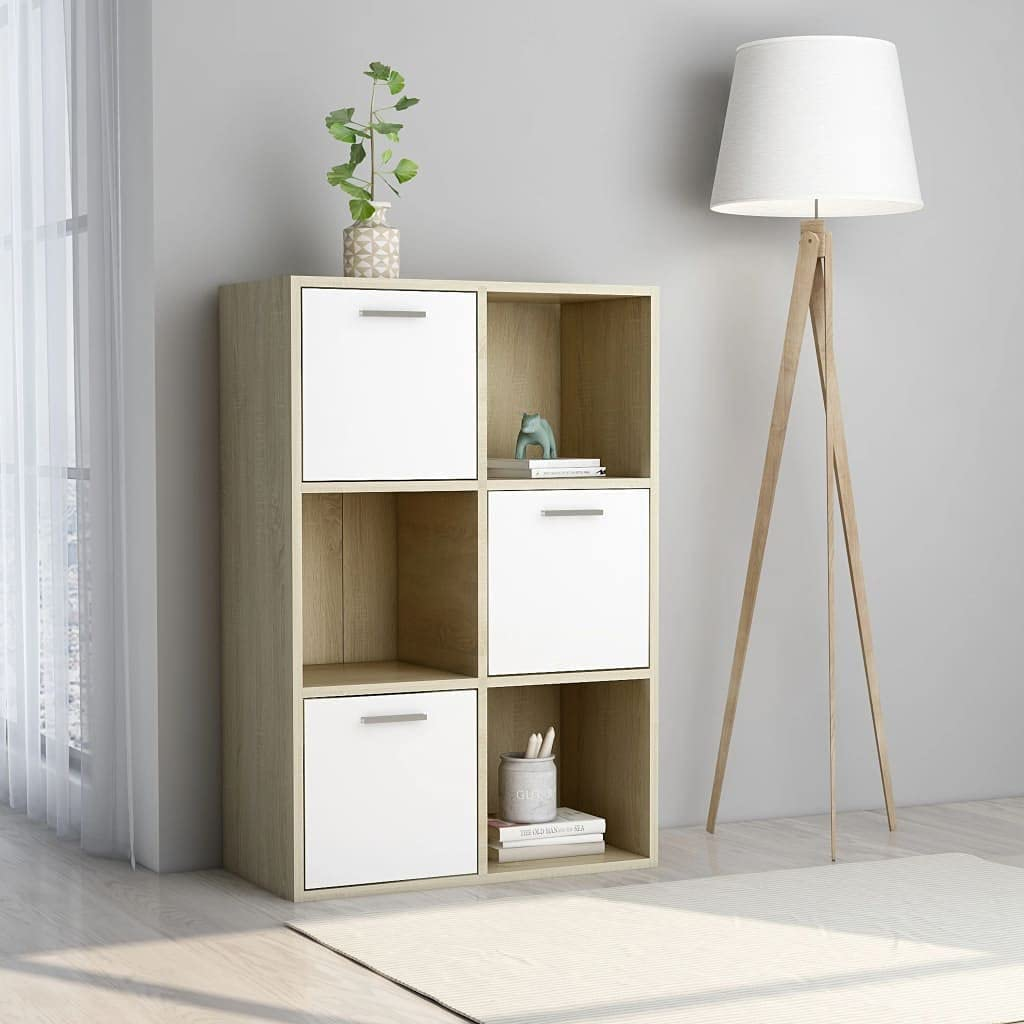 3-Tier Double Wide Bookcase with Doors Floor Ranking TOP1 New Free Shipping Ca Storage 6-Cubes