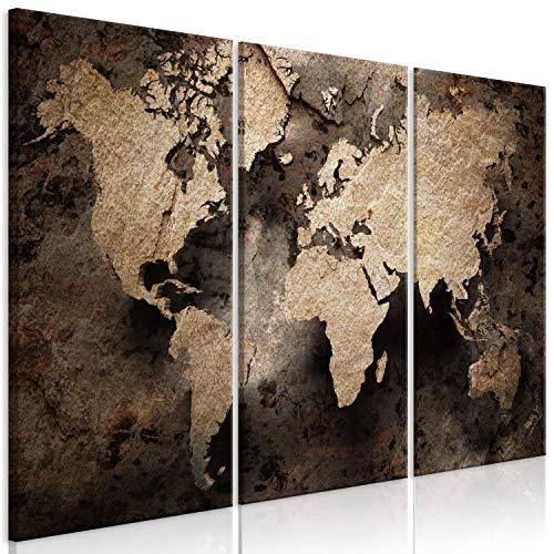 murando Cuadro en Lienzo Mapamundi 90x60 cm Impresión de 3 Piezas Material Tejido no Tejido Impresión Artística Imagen Gráfica Decoracion de Pared Mapa Worldmap Mundo Marron Oro k-C-0126-b-e