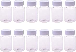 12PCS 80ml/2.7oz Clear Empty Portable Thicken Plastic Bottles Capsule Case with White Screw Cap Pill Tablet Holder Storage Container for Liquid Solid Powder Medicine Chemical Dispense