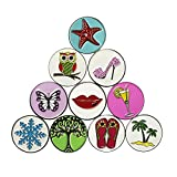 PINMEI Lot of 10 Golf Ball Markers Assorted Patterns, Soft Enamel...