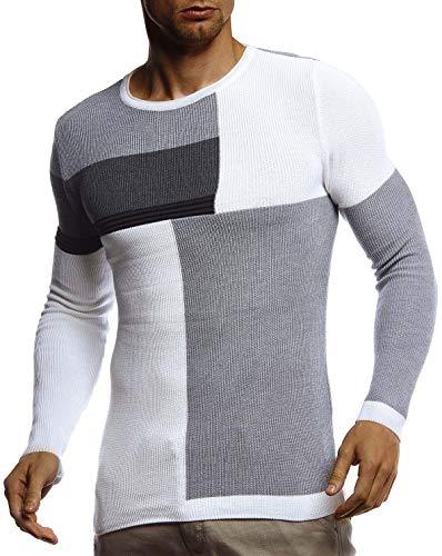 Leif Nelson Herren-Winterpullover Strick-Hoodie mit Kapuze Moderner Wollpullover Das Beste in Kleidung Männer LN2030 Größe XXL Ecru-Grau